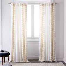 Curtains Set Cotton Oceania Border Curtains Set Of 2 Horseradish West Elm