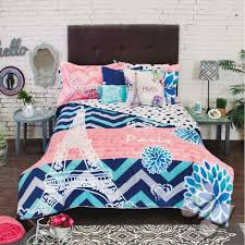 Coral Bedspread Teen Comforter Sets New Girls Teens Blue Coral Eiffel Tower