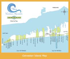 galveston island map map of the major subdivisions on the end of galveston island
