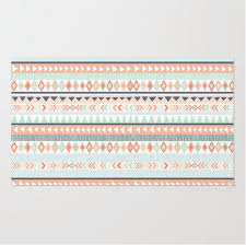 Mint Rug Mint And Coral Tribal Pattern Plush Rug Nursery Rug Girls