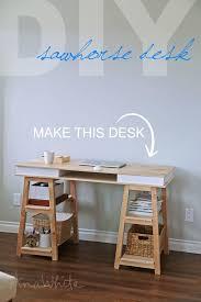 Diy Easy Desk White Build A Sawhorse Storage Leg Desk Free And Easy Diy