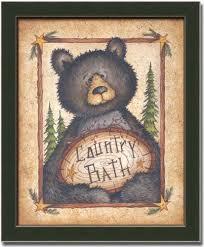 best value country bath bear cabin decor art print sign framed