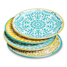 marika floral melamine assorted dinner plate set 4 pc blue gold