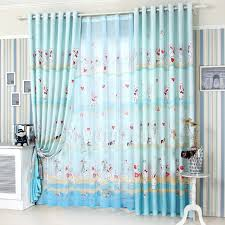 Blue Nursery Curtains Cute Rabbit Pattern Polyester Bright Blue Baby Nursery Curtains