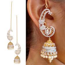 jhumka earrings with chain buy swasti jewels american diamond cz fashion jewellery