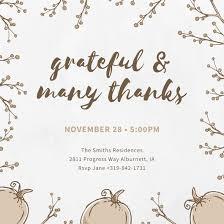 thanksgiving invitation templates canva