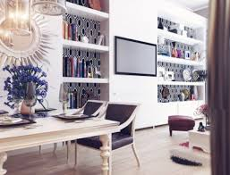 interior contemporary bookshelves with wonderful mirror in white