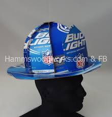 bud light beer hat front shield view of bud light beer box helmet inside brim cut and