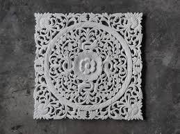 lotus wood carving plaque decor siam sawadee