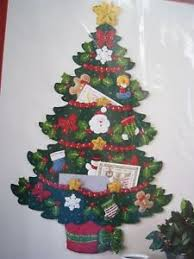 bucilla felt applique kit tree card holder wallhanging
