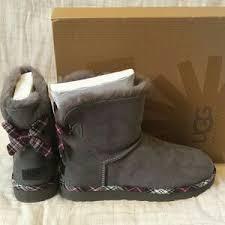 ugg mini bailey bow grey sale ugg mini bailey bow plaid gray boots 8 nwb nwt for sale
