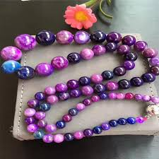 round beads necklace images Genuine natural pink sugilite gems stone round beads necklace 5 jpg