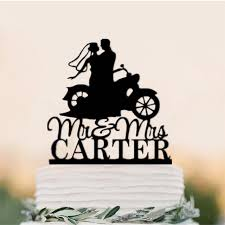 in cake toppers mr mrs motorcycle wedding cake toppers personalized with