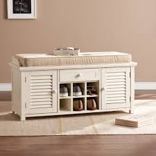 southern enterprises antebellum shoe storage bench antique white