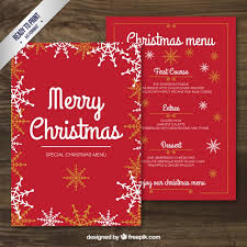red merry christmas menu template vector free download