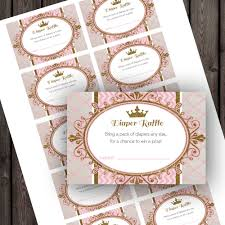 princess baby shower diaper raffle tickets pink and gold