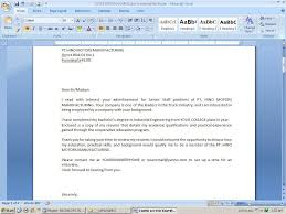 application letter sample doc
