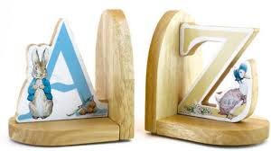 rabbit bookends rabbit a to z wooden bookends set of 2 by beatrix potter