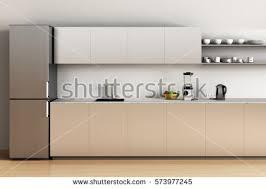 Office Kitchen Furniture Office Kitchen Wooden Floor Refrigerator Sink Stock Illustration