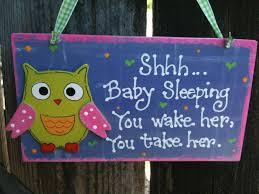 owl themed baby items owl baby sleeping sign nursery room decoration handmade wooden