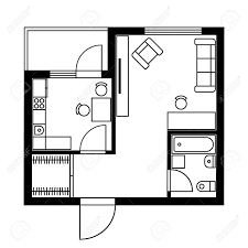 floor plan of a house with furniture vector illustration royalty