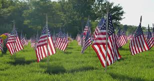 american flag 4th of july decorations on house stock footage