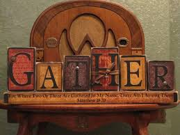 customized gather family sign word blocks religious and