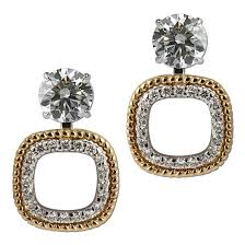 earring jackets for studs gottlieb sons 28662b two tone shared prong convertible earring