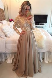 long sleeve champagne gold prom dresses 2017 cheap appliques sheer