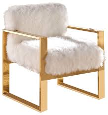 White Accent Chair Milo Faux Fur Accent Chair White Contemporary Armchairs And
