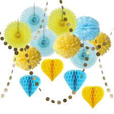 paper fan circle decorations 15pc paper decoration set circle garland honeycomb balls paper fans