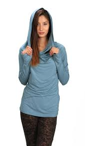 Hoodie With Thumb Holes Womens Cowl Neck Hoodie Shirt With Thumbholes In Ocean For Womens
