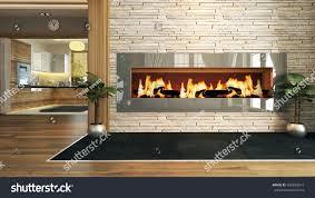 living room fireplace 3d design rendering stock illustration