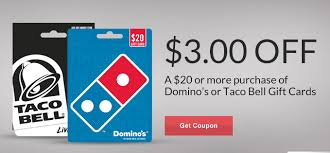 save on a taco bell or domino s gift card at rite aid rite aid