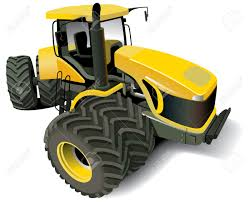 detailed vectorial image of yellow modern tractor isolated on
