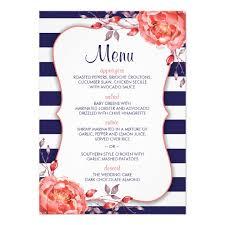 navy blue striped coral wedding menu card template zazzle com