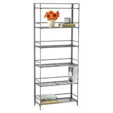 Self Assembly Bookshelves by 6 Shelf Iron Folding Bookshelf The Container Store