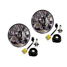stock jeep headlights kc hilites 42302 wrangler jk h4 halogen headlight conversion kit