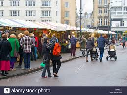 cambridge market stalls and shoppers in winter stock photo