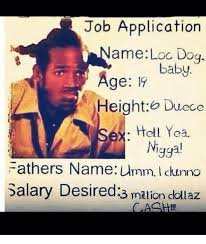 Application Meme - job application ame loc dog baby age height duece ell yea nigga