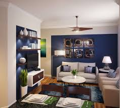 Navy Blue  White Small Family Room Modern Family Room Miami - Small family room