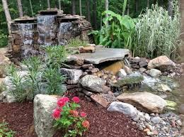 backyard garden waterfalls as beautiful garden landscaping
