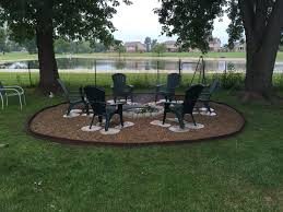 great outdoor fire pit used galvanized ring concrete pavers pea