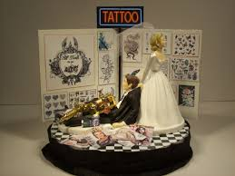tattoo funny wedding cake topper bride and groom inked