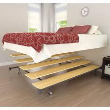 Simple Platform Bed Frame Simple Brown Wooden Platform Bed Frame With 4 Wooden Legs And Lace