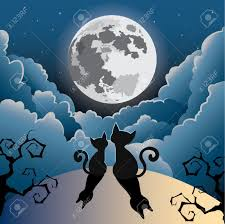 silhouette of two cute kitty cat under the full moon halloween