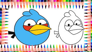 angry bird coloring pages for children with sketch pens angry