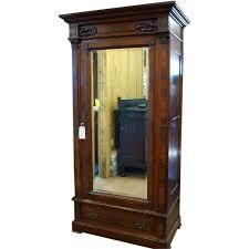 Beveled Mirror Walnut Eastlake Victorian Wardrobe Single Beveled Mirror Door