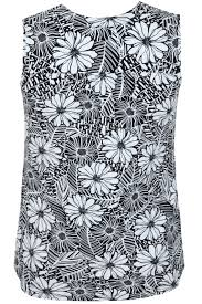 Rustic Home Decor Stores Black U0026 White Floral Print Sleeveless Blouse Plus Size 16 To 32