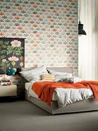 Wohnzimmer Orange Blau Schöner Wohnen Vliestapete Mustertapete Bunt Grau Orange